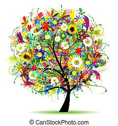 virágos, nyár, fa, gyönyörű