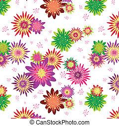 virágos, nyár, seamless, színes, motívum