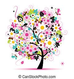 virágos, nyár, tervezés, fa, -e