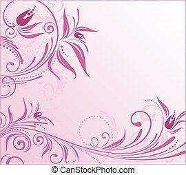 virágos, rózsaszínű, elvont, háttér
