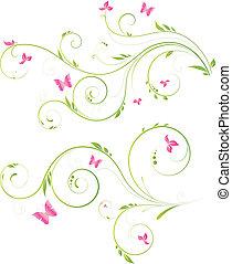 virágos, rózsaszínű virág, tervezés