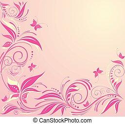 virágos, rózsaszín háttér