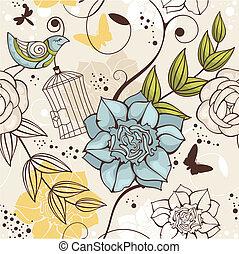 virágos, seamless, háttér