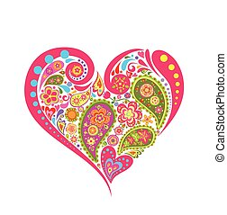 virágos, szív alakzat, paisley