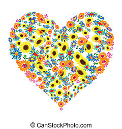 virágos, szív alakzat, tervezés