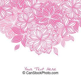 virágos, szórakozottan firkálgat, rózsaszín háttér