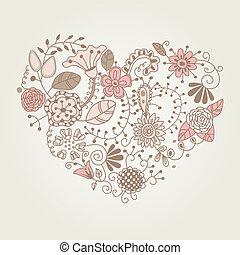 virágos, szüret, alakít, szív