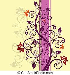 virágos, vektor, tervezés, ábra
