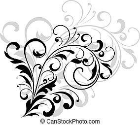 virágos, zöld, örvénylik, tervezés elem