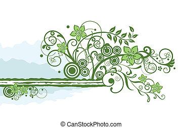 virágos, zöld, határ, elem