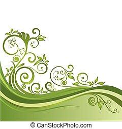 virágos, zöld, transzparens, elszigetelt