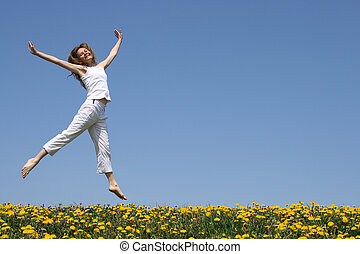 virágzás, leány, kaszáló, meglehetősen, tánc