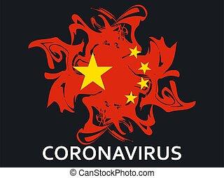 virus., középső, vektor, kínai, légzési, coronavirus, ábra, kelet, syndrome., 2019-ncov