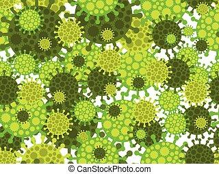 virus., középső, vektor, kínai, légzési, coronavirus, ábra, pattern., vírus, seamless, kelet, syndrome., 2019-ncov