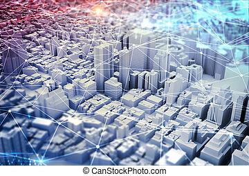 vision., város, média, kevert, futuristic