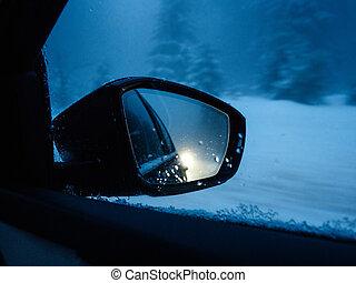 visszaverődés, havas, autó, út, tükör, hátsó kilátás