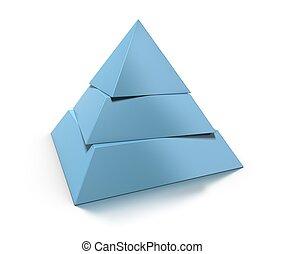 visszaverődés, piramis, felett, három, kiegyenlít, sima, háttér, fehér, árnyék, 3