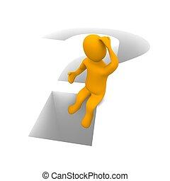 viszonoz, illustration., ülés, gondolkodó, mark., kérdez, ember, 3