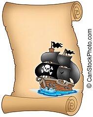 vitorlás hajó, pergament, kalóz, ködös