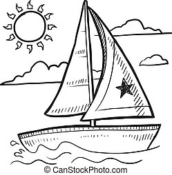 vitorlás hajó, skicc