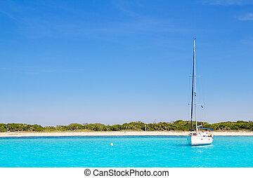 vitorlás hajó, türkiz, formentera, tengerpart