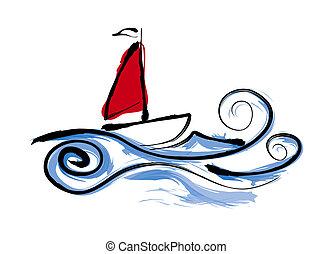 vitorláshajó, ábra