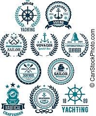 vitorlásport, címertani, ikonok, vektor, tengeri, tengeri