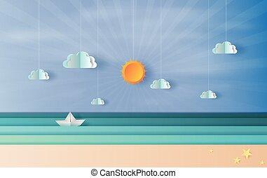 vitorlázás, dolgozat, kék, világos, úszó, művészet, nap, kilátás, csónakázik, világítás, tenger, vektor, illustration., hajó, sky.