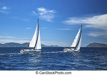vitorlázás, fényűzés, sailing., regatta., csónakázik, yachts.