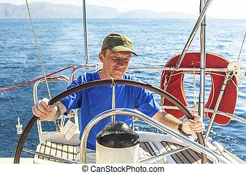 vitorlázás, fiatal, vezérmű, yacht., figyelmetlen ember, vezetés, ember