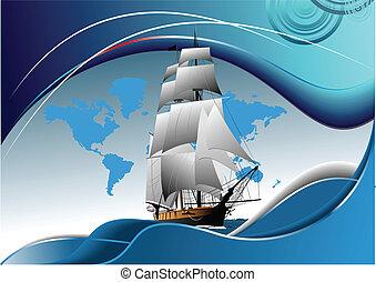 vitorlázás hajó, öreg, brosúra, fedő