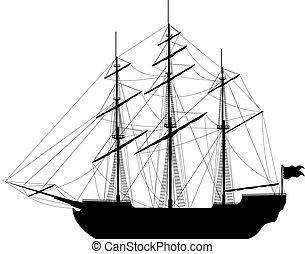 vitorlázás hajó, háttér, elszigetelt, fehér