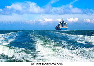 vitorlázás hajó, rakomány, tenger
