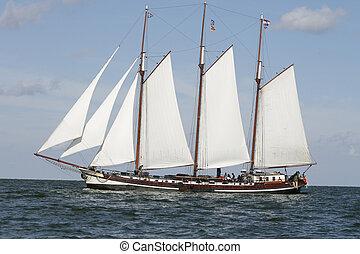 vitorlázás, holland, öreg, csónakázik, klasszikus