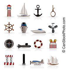 vitorlázás, ikonok, tenger, tengeri