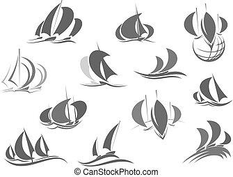 vitorlázás, ikonok, utazás, jacht, vektor, hajó, saleboat