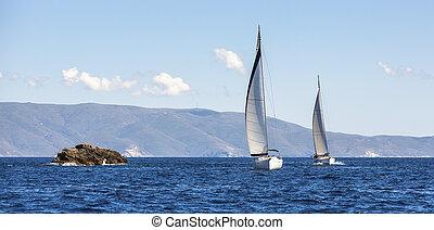 vitorlázás jacht, csónakázik, két