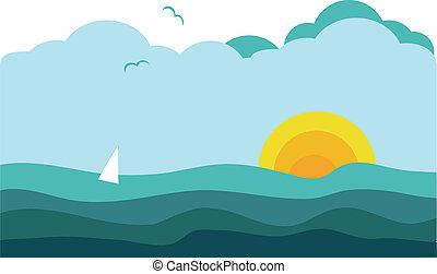 vitorlázás, napos, jacht, óceán, 2, kilátás