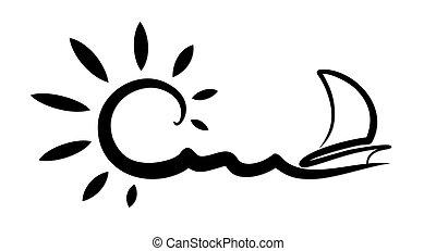 vitorlázás, vessel., táj, tenger