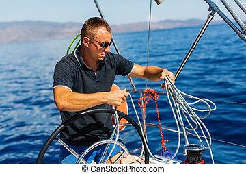 vitorlázás, vezérmű, yacht., figyelmetlen ember, vezetés, ember