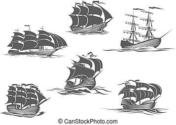 vitorlázás, vitorlás hajó, jacht, brigantine, hajó, ikon