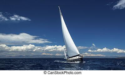 vitorlázik, hajó, vitorlázás, jacht