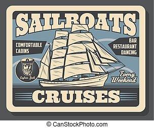 vitorlázik, utazás, vektor, luxushajó, tengeri