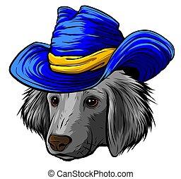 vizsla, labrador, súlyos, kutya, selyem, karikatúra, szürke, vektor, csípőre szabott, kalap