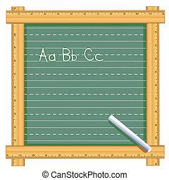 vonalzó, keret, chalkboard, ábécé