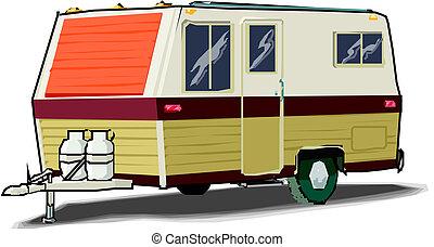 vontatott lakókocsi, ábra, fehér