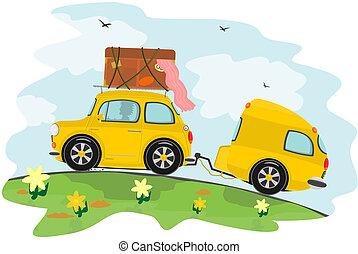 vontatott lakókocsi, autó