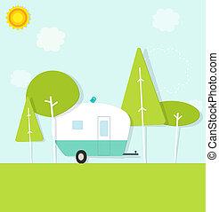 vontatott lakókocsi, erdő