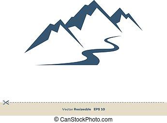vulkán, sablon, tervezés, vektor, egyenes, jel, patak, ábra, hegy