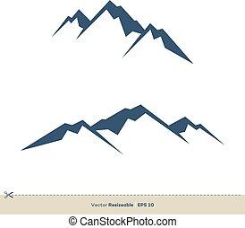 vulkán, sablon, tervezés, vektor, jel, ábra, hegy